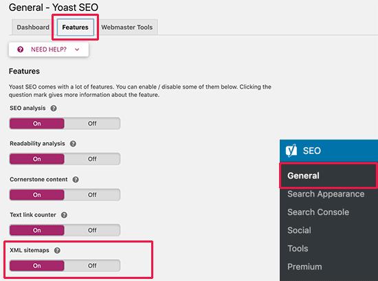 Yoast SEO XML Sitemap option