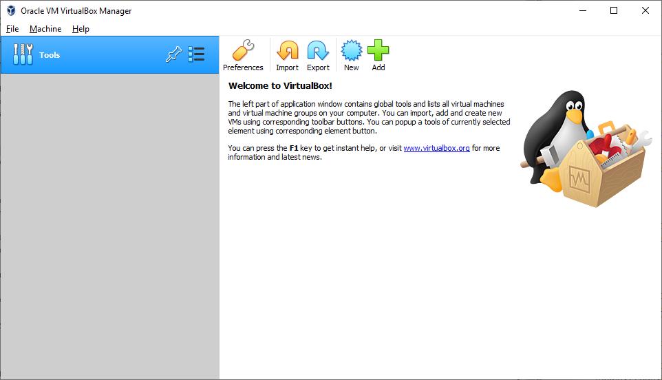 The VirtualBox start screen