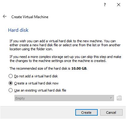 The VirtualBox Create Hard Disk window 1