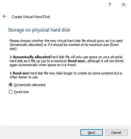 The VirtualBox Create Virtual Hard Disk window 3