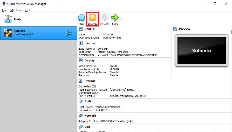 The VirtualBox Home screen with Xubuntu