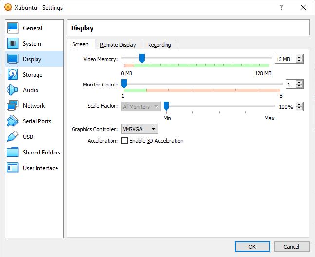 The Xubuntu System Settings Display window