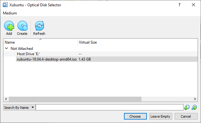 The Xubuntu - Optical Disk Selector screen but with an ISO loaded
