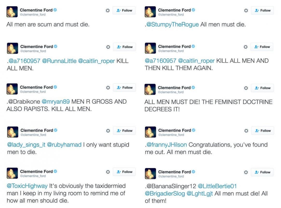 a collection of other misandrist tweets by Clementine Ford