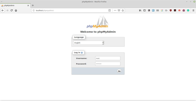 Login phpMyAdmin dengan menggunakan akun 'root'.