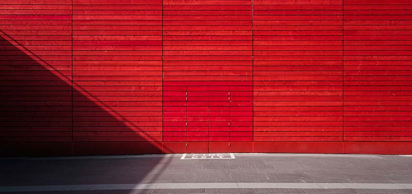 A red building.