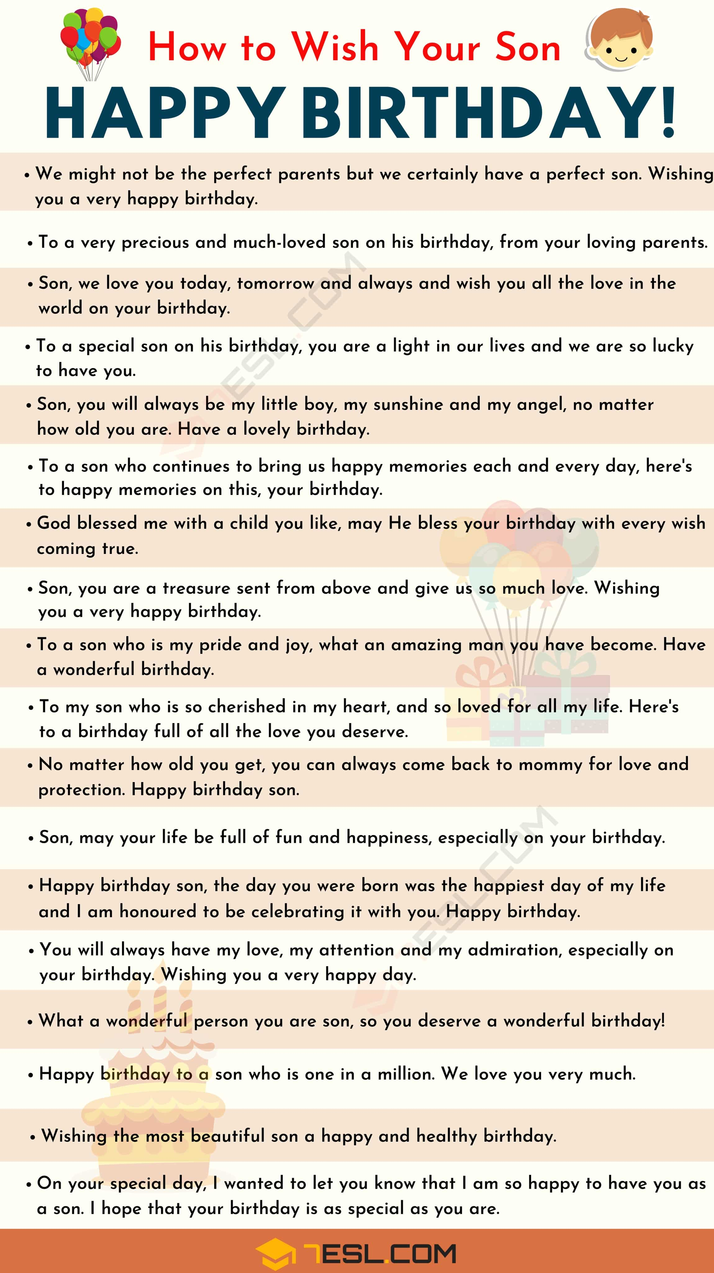 Happy Birthday Son 35 Meaningful And Funny Birthday Wishes For Son 7esl