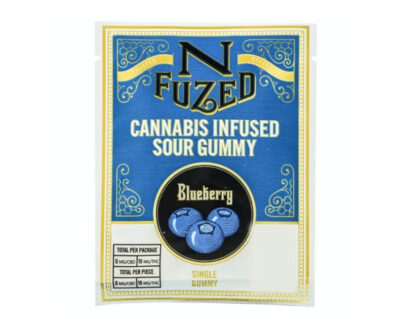 THC infused sour blueberry gummy