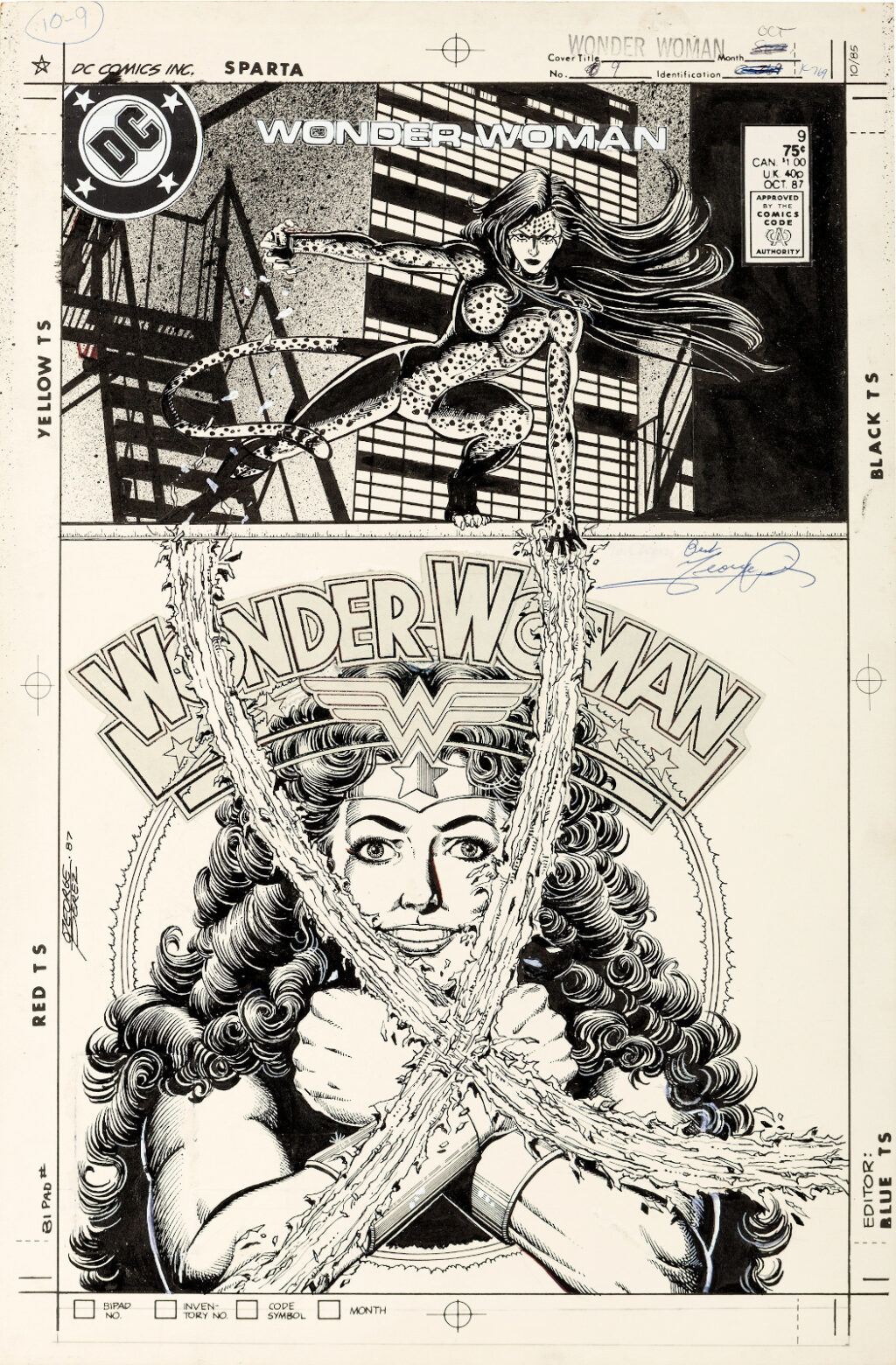 Wonder Woman issue 9 cover by George Perez