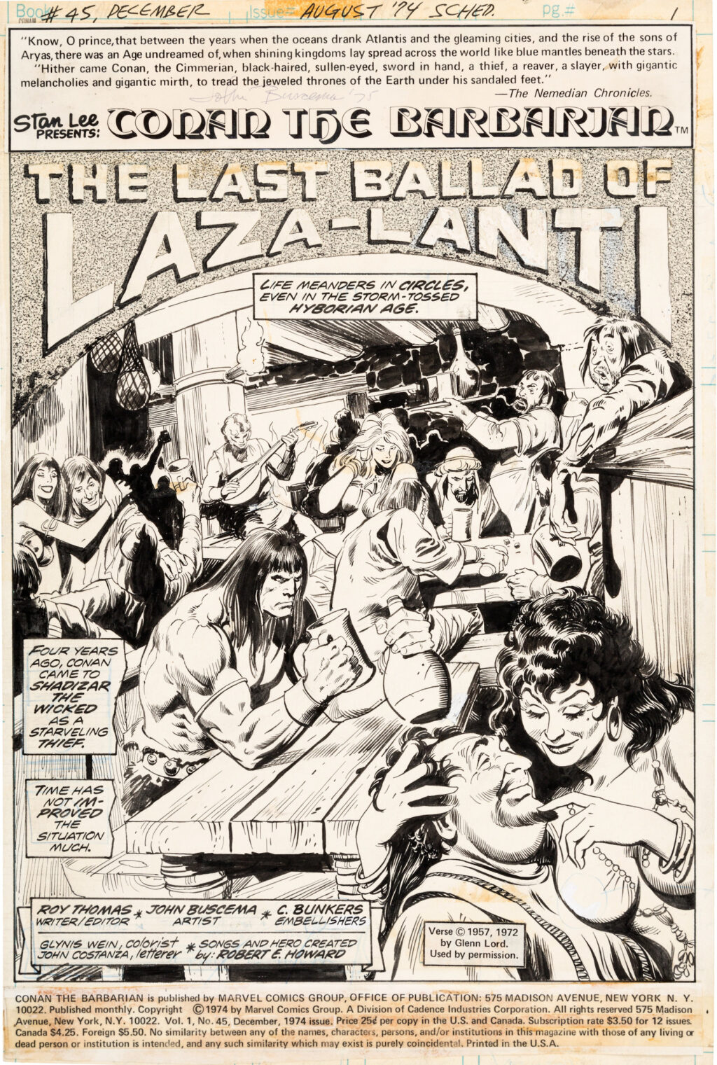 Conan the Barbarian issue 45 Page 1 by John Buscema and Crusty Bunkers