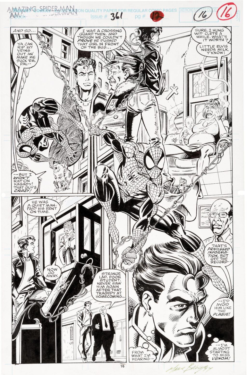 Amazing Spider Man issue 361 page 12 by Mark Bagley and Randy Emberlin