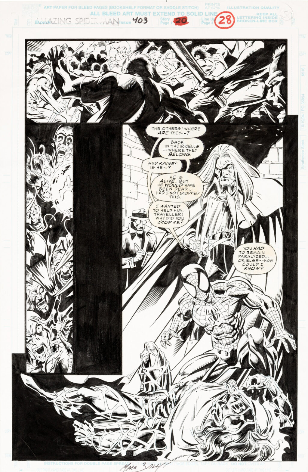 Amazing Spider Man issue 403 page 28 by Mark Bagley and Larry Mahlstedt