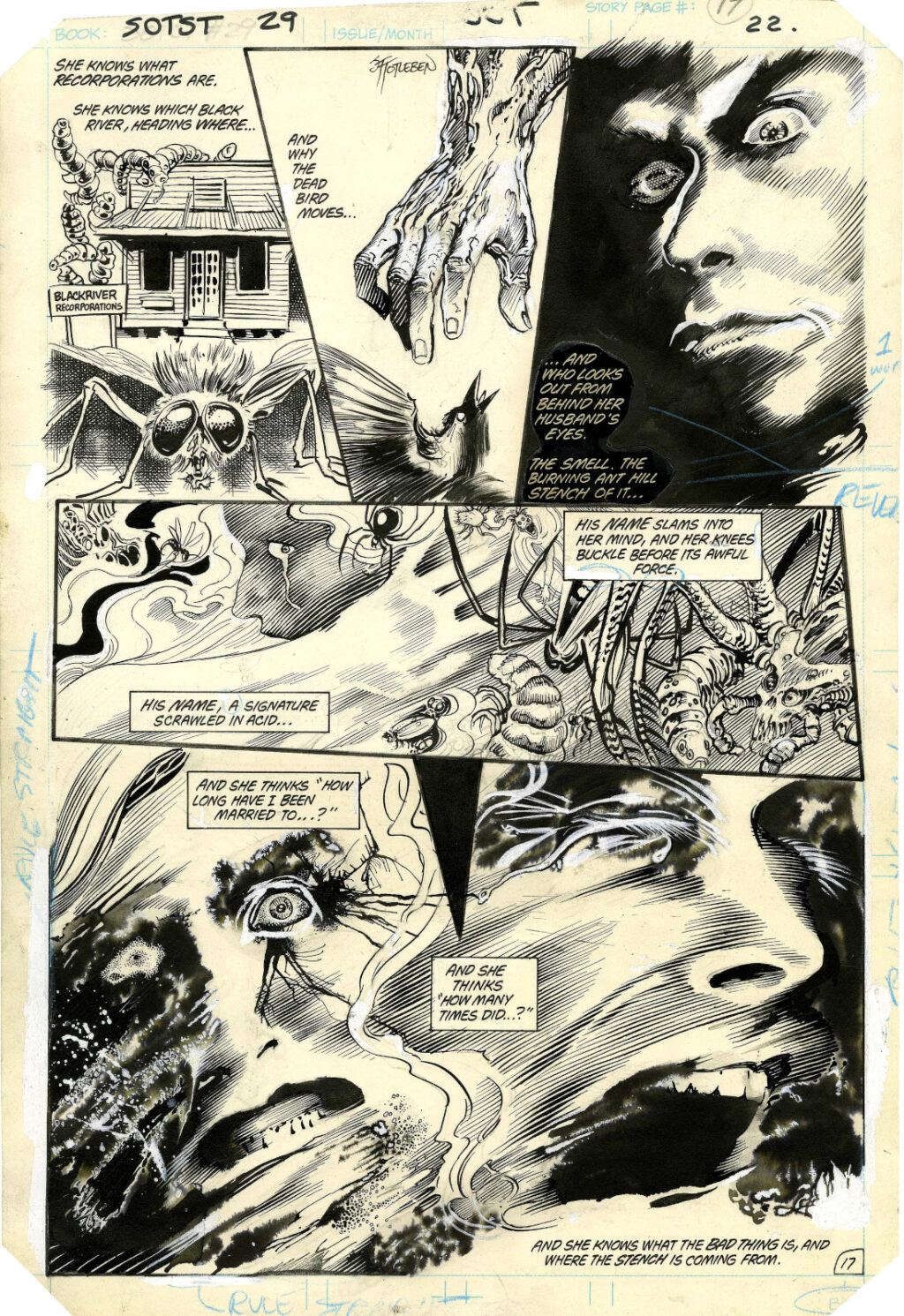 Saga of the Swamp Thing issue 29 page 17 by Stephen Bissette and John Totleben