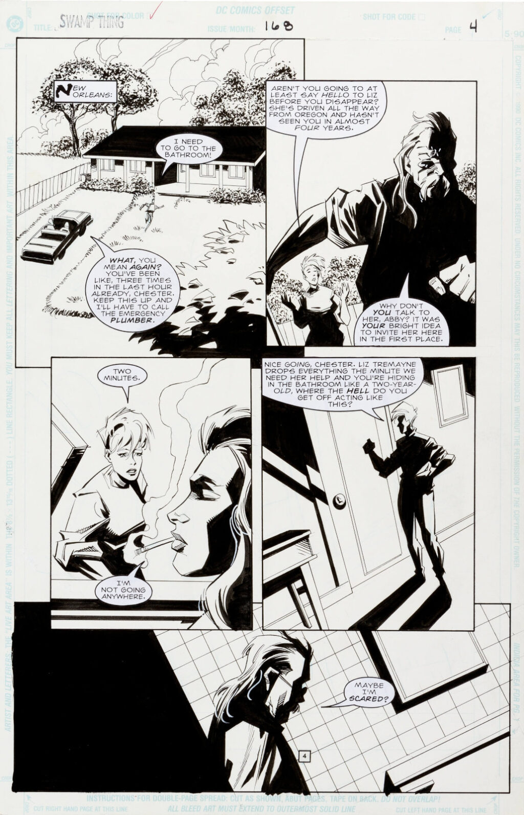 Swamp Thing issue 168 page 4 by Phil Hester and Kim DeMulder