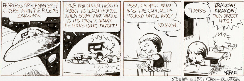 Bill Watterson Calvin and Hobbes Daily 4 28 86