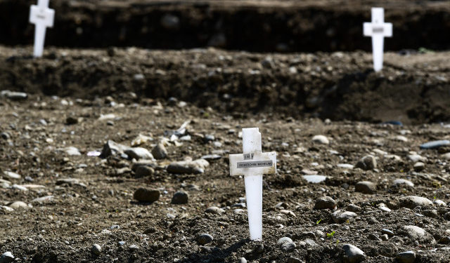 A view shows crosses in the so-called Campo 87 area where some 60 unclaimed bodies, of people who died from coronavirus, have been burried so far by the municipality at the Maggiore cemetery in Milan on April 23, 2020, during the country's lockdown aimed at curbing the spread of the COVID-19 infection, caused by the novel coronavirus. (Photo by Miguel MEDINA / AFP)