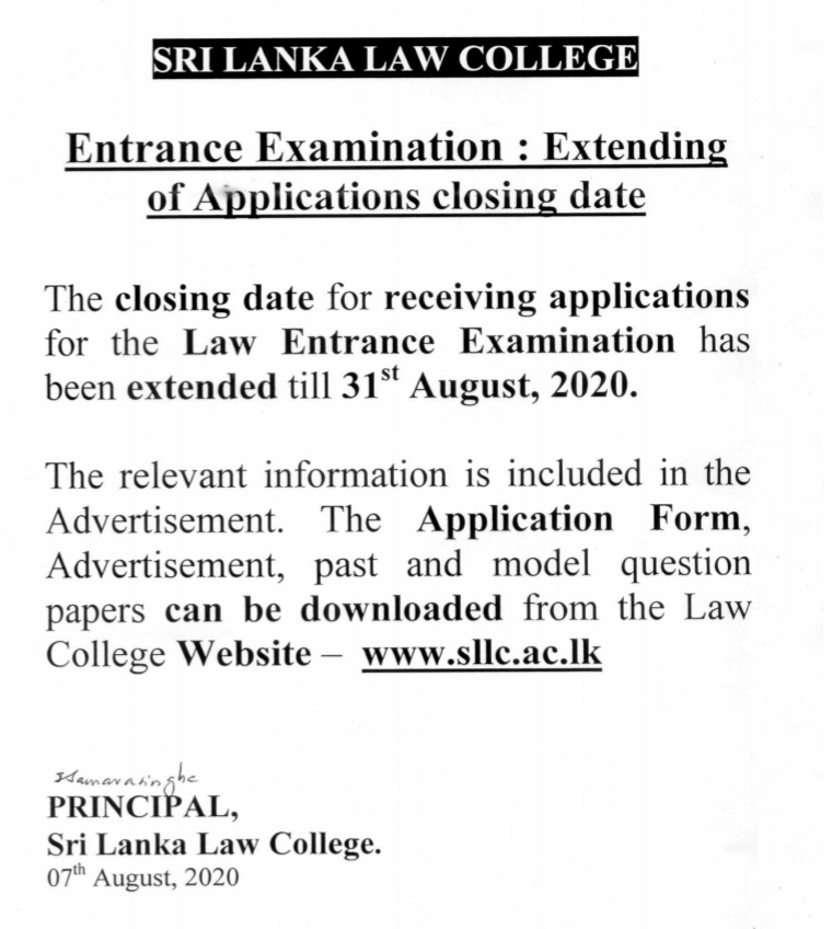 Sri lanka Law College Application date extended