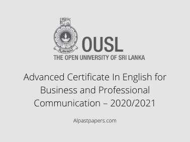 Advanced Certificate In English for Business and Professional Communication