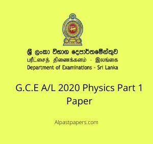 a/L 2020 Physics Part 1 Paper