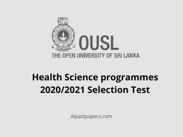 Health Science programmes 2020/2021 Selection Test