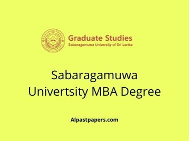 Sabaragamuwa Univertsity MBA Degree