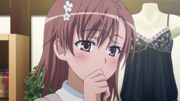 mikoto misaka thinking blushing cute