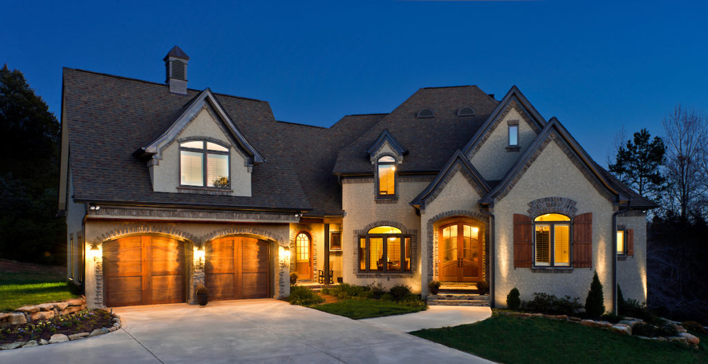 custom home at twilight