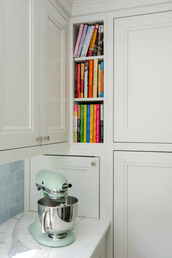 Book nook detail in custom kitchen