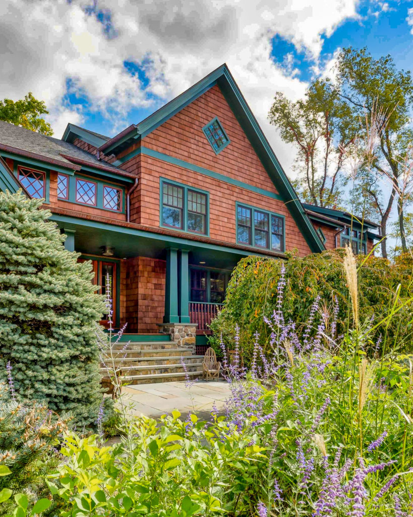 Adirondack inspired home entry and porch