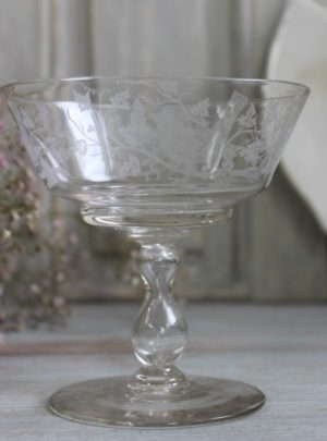 Old Swedish glass set with finely ground motif