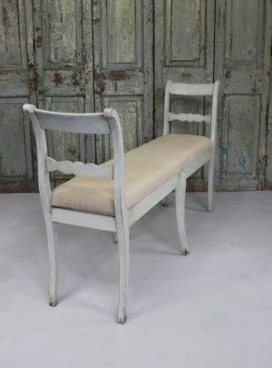 Charming old Swedish bench upholstered in linen.