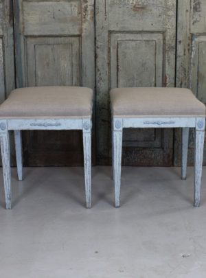 Couple beautiful Swedish stools in Gustavian style from the late 1800s.