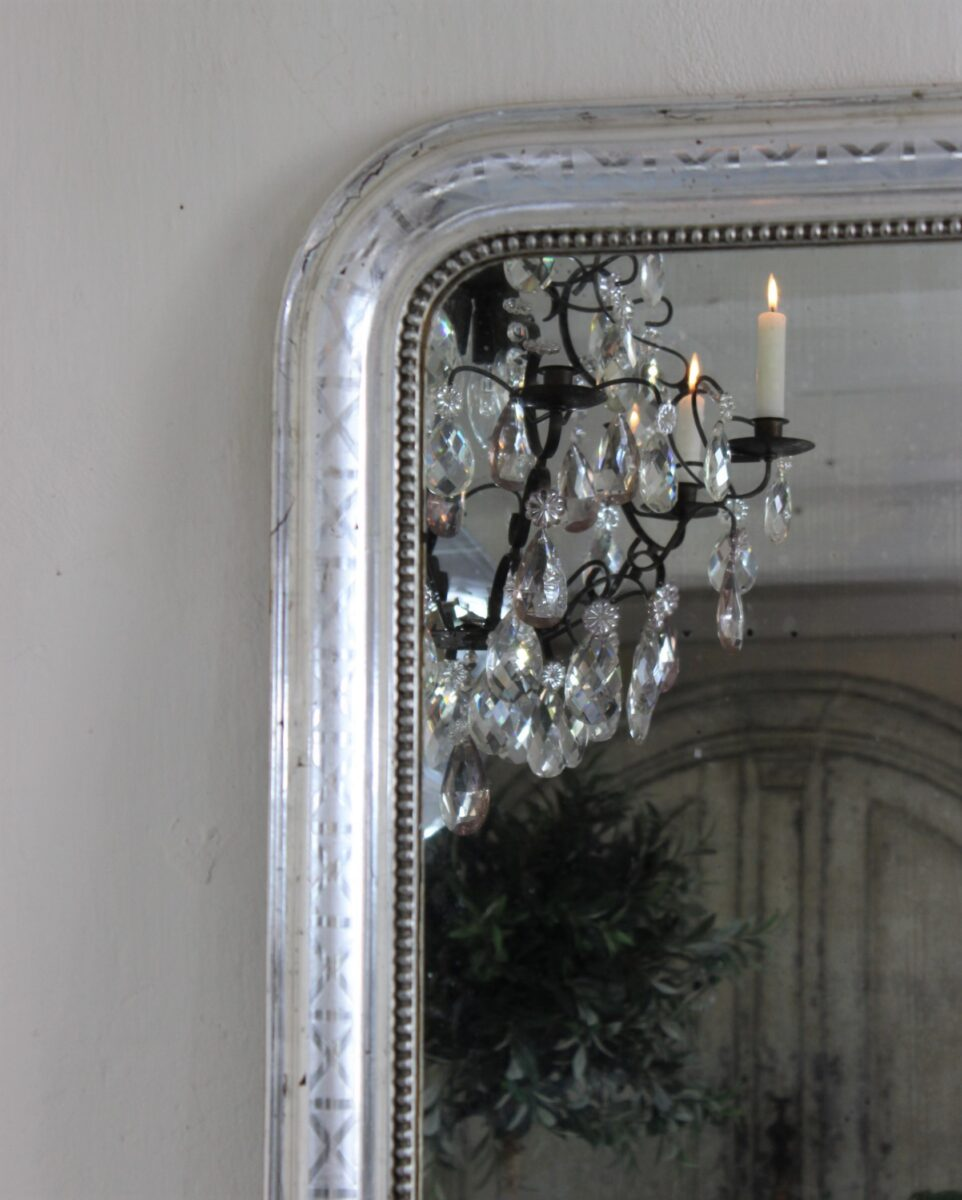 Large beautiful French Louis Philippe silver mirror from the late 19th century.