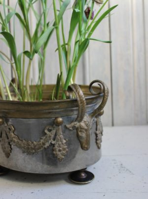 Beautiful old French Jardiniere with bowheads.
