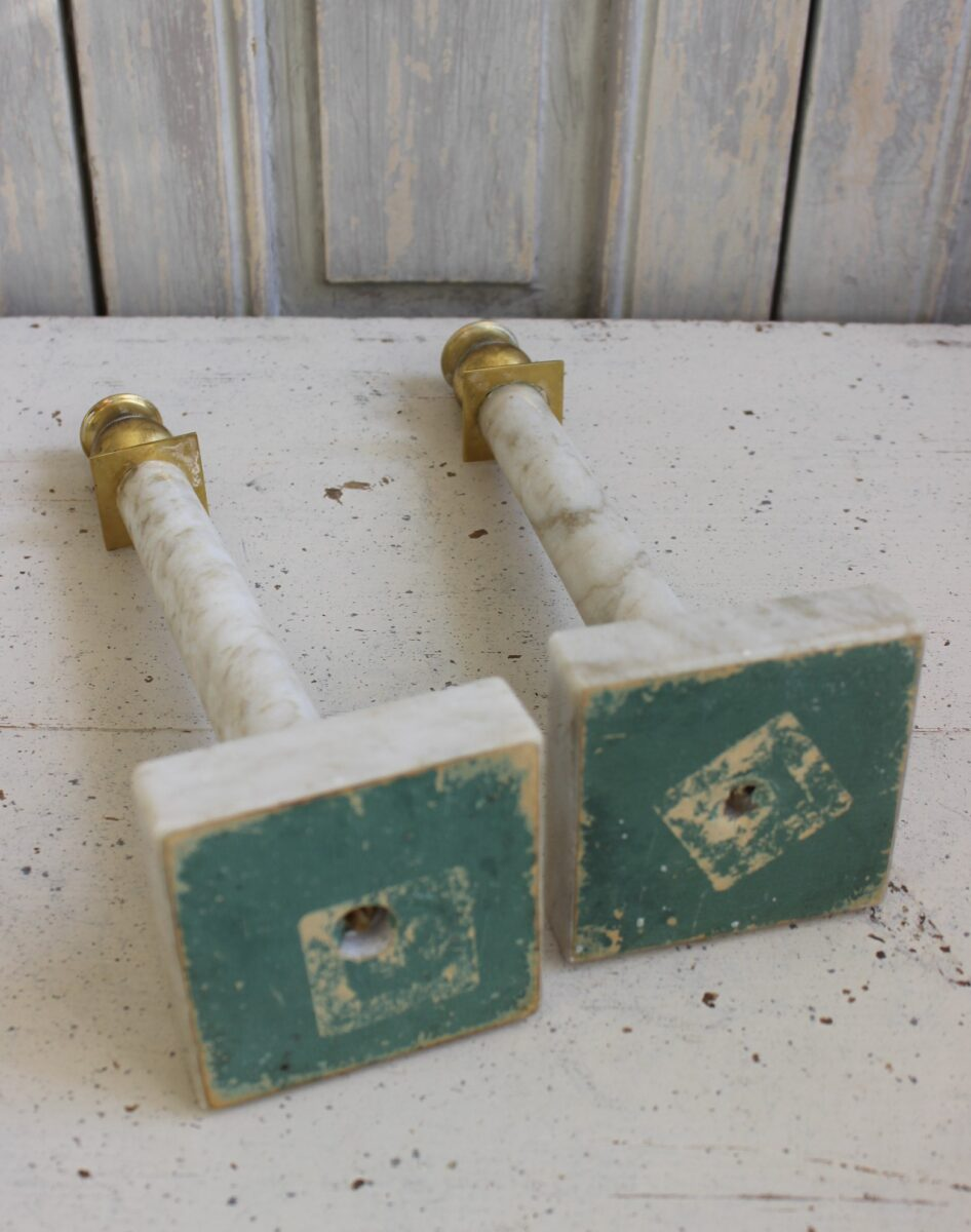 Pair of Gustavian marble and gilt brass candlesticks