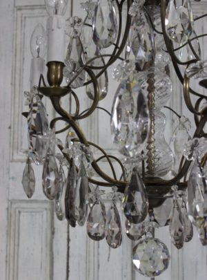 Unique great Swedish crystal chandelier with pink prisms from the year 1900th