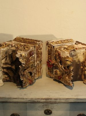 Pair of unique French 17th century fragments from church.