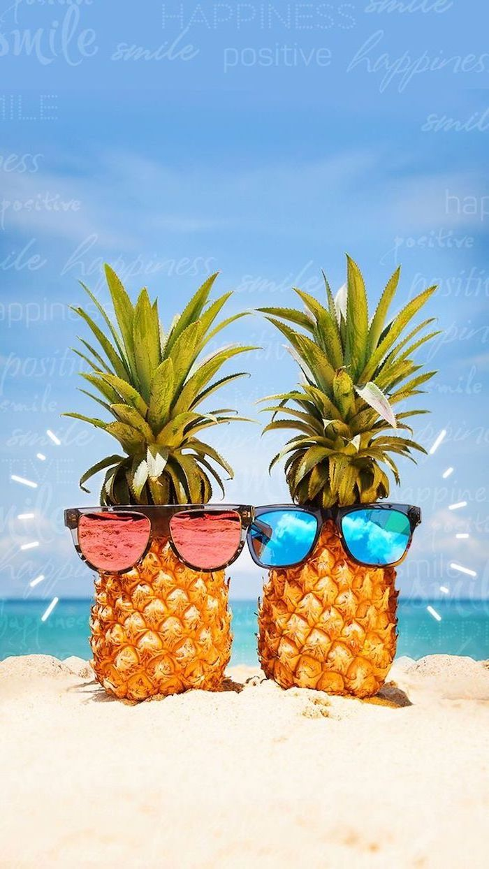 two pineapples with sunglasses on the beach cute wallpapers for girls blue skies
