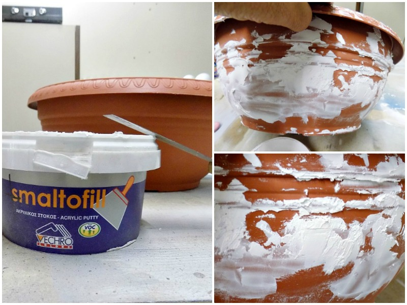 Creating layers with acrylic putty on a plastic flower pot