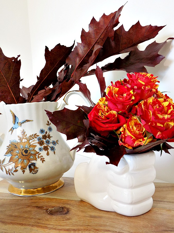 Fall decorations on the kitchen table