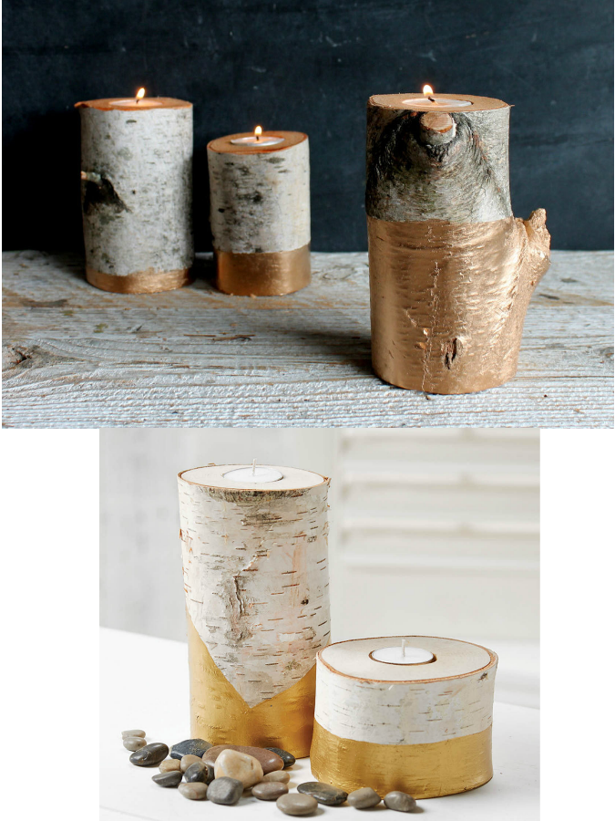 Birch tree candle holders, acualux gold