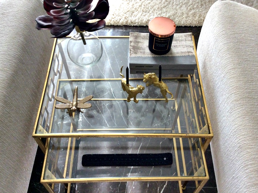 Gold side table, gold decor
