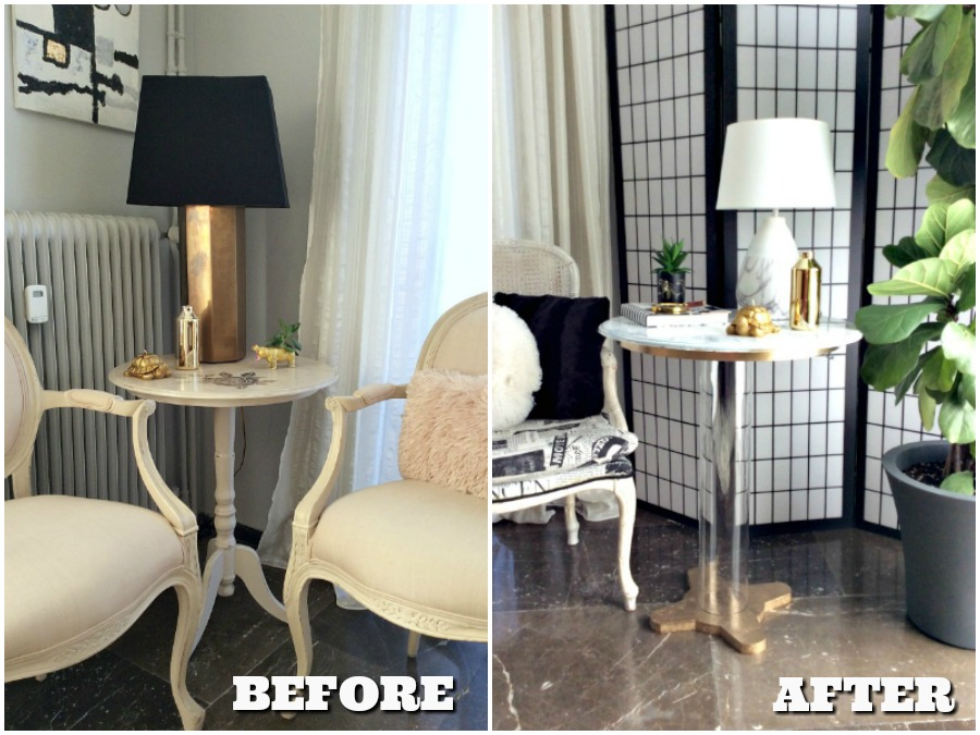 Before after side table transformation