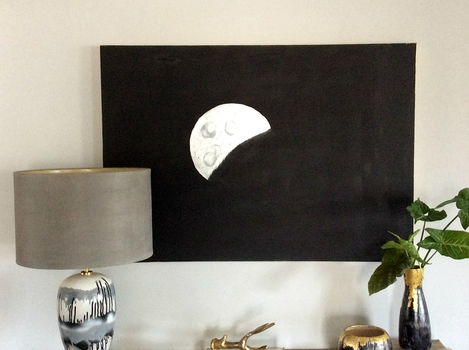 Silver moon on black canvas