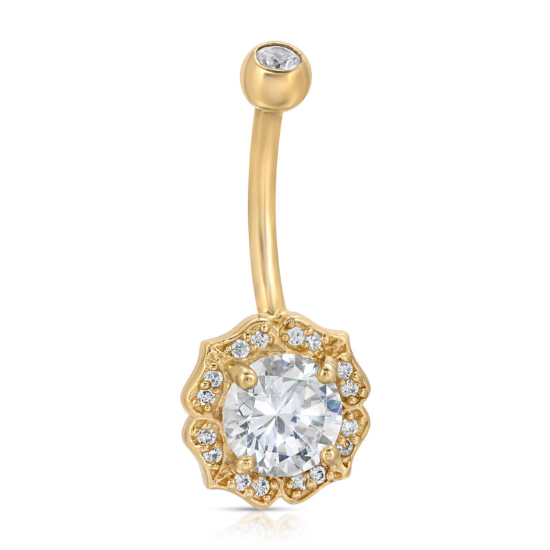 14kt Gold Bloom CZ Solitaire w/Pave Accents belly ring