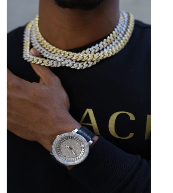 Diamond Iced Out with Black Rubber Band