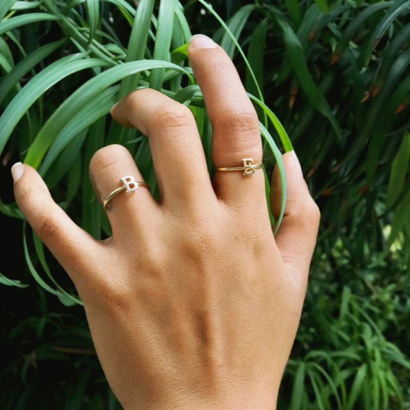 10k Two Tone Gold Dainty Handcrafted Initial Ring