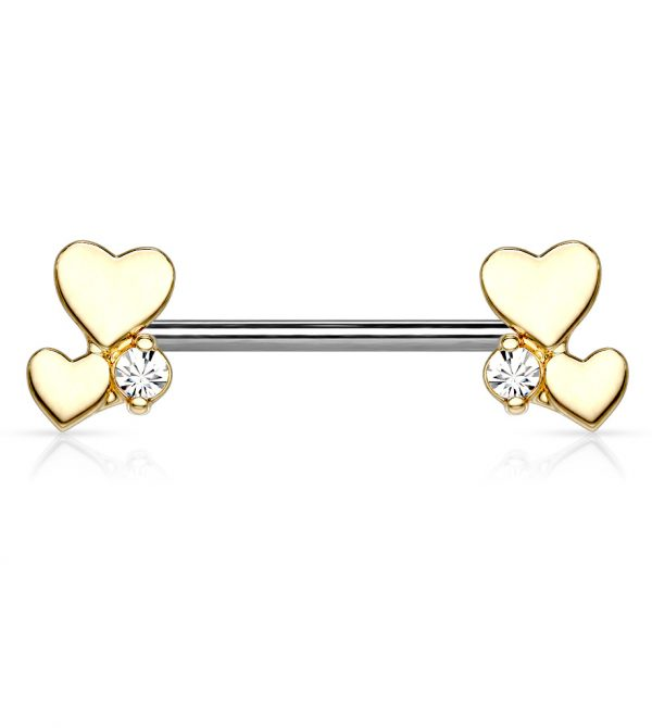 Cluster Hearts Barbell Nipple Rings