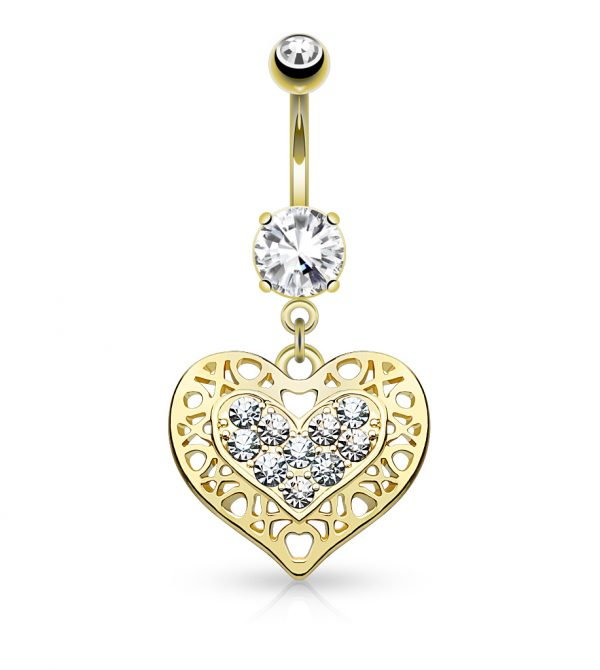 Crystal Paved Heart Dangle Belly Button Navel Rings