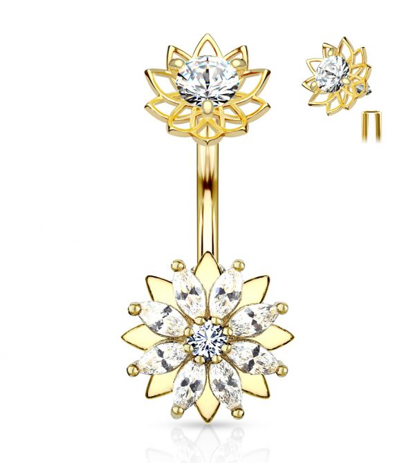 Marquise CZ Flower Top Belly Button Navel Rings